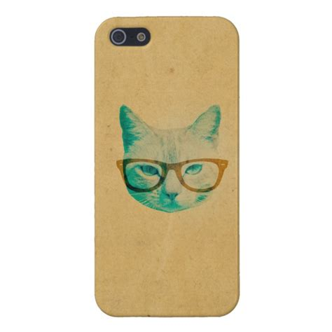 funny cool hipster cat  thick framed glasses case  iphone ses case