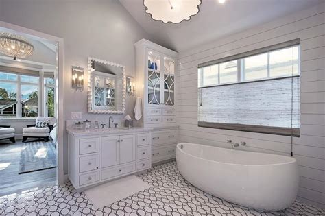 Grey Accent Wall Bathroom copper tub with vintage style tub filler transitional