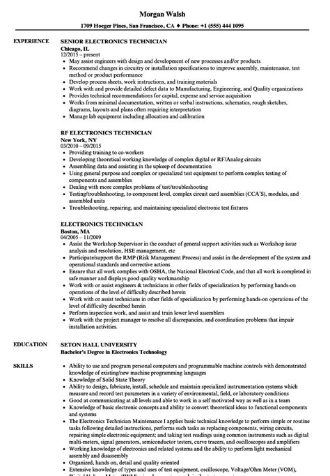 Electronic Technician Resume by Electronics Technician Resume Sles Velvet