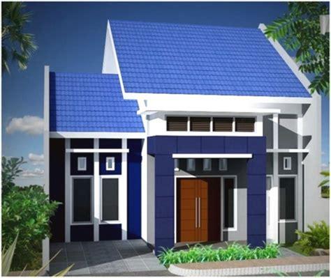 desain rumah atap biru warna cat luar rumah yang cerah desain rumah minimalis