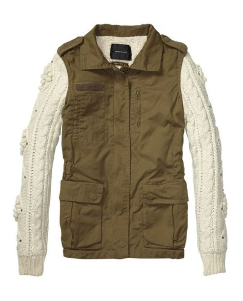 Scotch By Loving Shop army inspired jacket with cable knitted sleeves gt womens