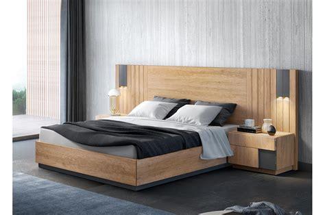 meubles chambre adulte lit contemporain 160x200cm anthracite et teck cbc meubles