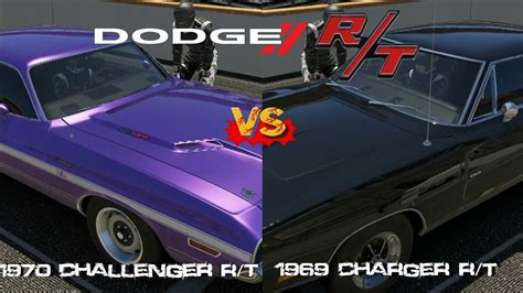 69 challenger vs 69 charger forza 5 1970 dodge challenger r t vs 1969 dodge charger
