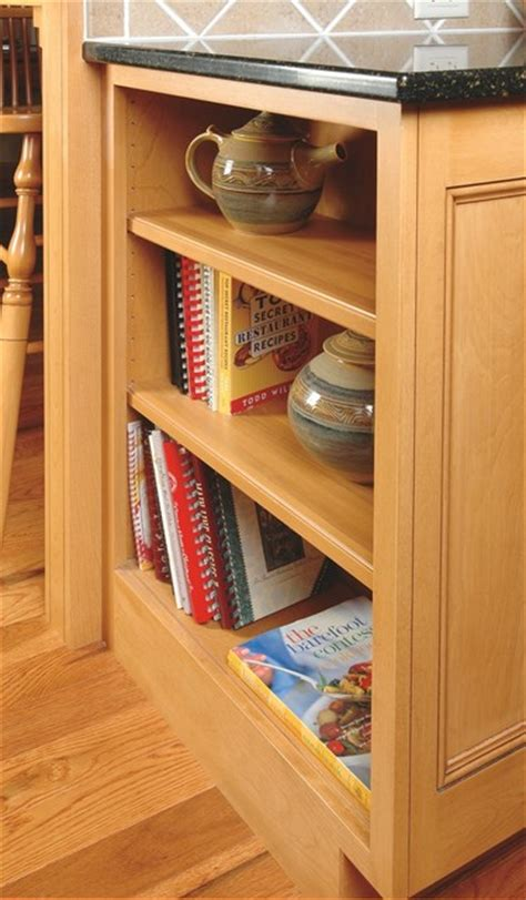 open cookbook shelves in cabinet end traditional kitchen