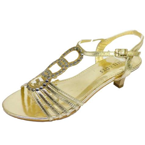 gold low heel sandals gold strappy kitten low heel evening sandals
