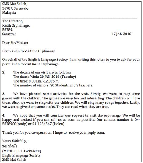 Formal Letter Format Pt3 How To Write A Letter Of Permission Formal Letter Pt3