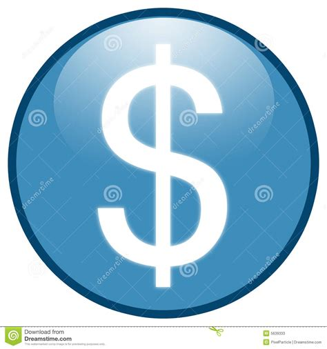 dollar sign button icon blue stock  image
