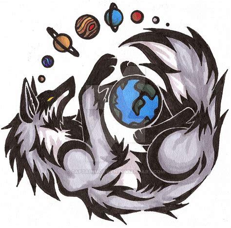 colour tribal tattoo designs solar system wolf by captainmorwen on deviantart