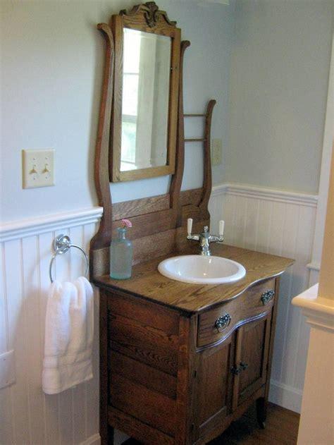 raising a bathroom vanity antique oak hotel commode re purposed into a bathroom