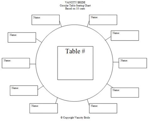 Table Seating Chart Template free individual table seating charts free wedding