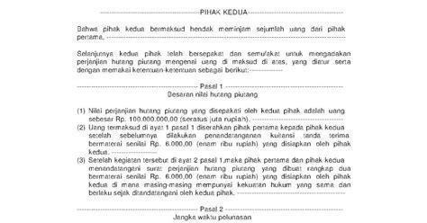 contoh macam macam surat perjanjian rw 09 taman persada