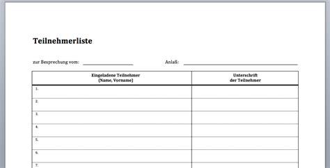 Vorlage Word Liste Vordruck Besprechnungsprotokoll Teilnehmerliste Convictorius