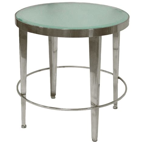 frosted glass end table end table polished chrome base frosted