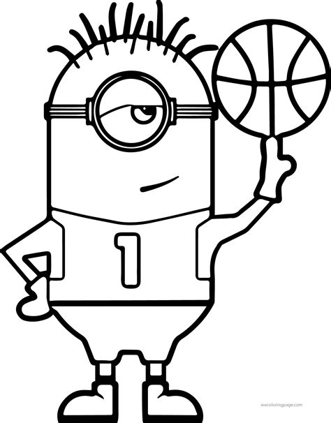 coloring sheets minion turn basketball coloring page wecoloringpage