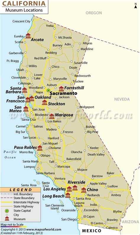 map of california usa with cities list of museums in california california museums map