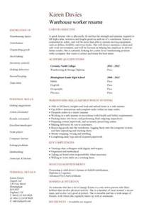 Resume Xml by Warehouse Manager Cv Sample