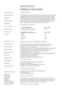 warehouse assistant cv template job description sample