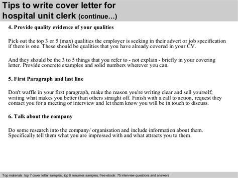 Resume Cover Letter For Unit Clerk Hospital Unit Clerk Cover Letter