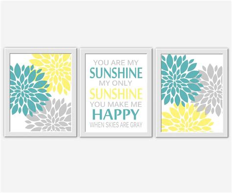 you are my sunshine bedroom yellow gray baby nursery wall art you are my sunshine
