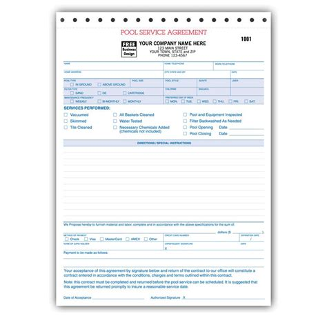 Spa Pool Business Invoice Forms Work Order Designsnprint Swimming Pool Estimate Template
