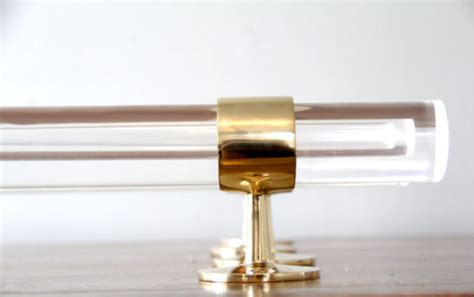 lucite curtain rod lucite and polished brass drapery curtain rod by lux