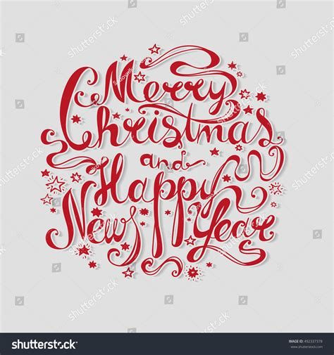 lettering merry christmas happy  year stock vector  shutterstock