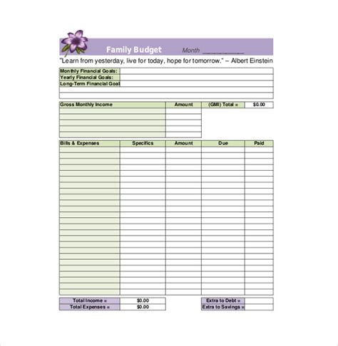 Templates For Household Budgets by 8 Family Budget Templates Free Sle Exle Format