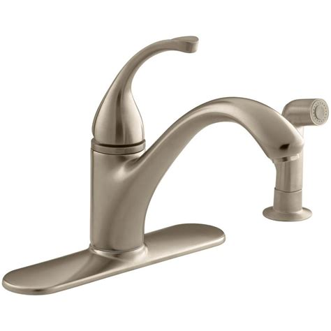 kohler bronze kitchen faucets kohler forte single handle standard kitchen faucet with side sprayer in vibrant brushed bronze k
