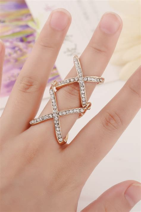 Rhinestone Knuckle Ring rhinestone decor cross knuckle ring 020227 rings for