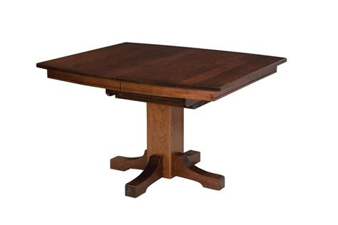 Single Table by Amish Frederick Single Pedestal Butterfly Leaf Mission