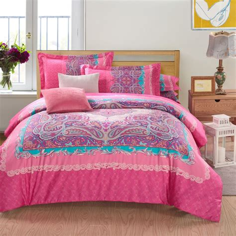 Cheap Bed In A Bag Sets Wholesale Modern Paisley Pink King Size Bedding Sets Duvet Cover Sets Bed In A Bag