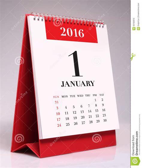 calendrier bureau photo calendrier de bureau simple 2016 janvier photo stock