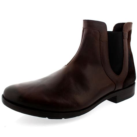 mens fly pyne pull on smart leather chelsea ankle