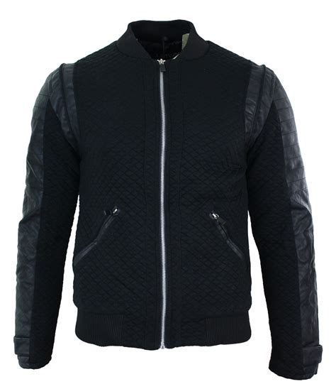 slim fit bomber jacket mens slim fit quilted baseball bomber jacket pu leather
