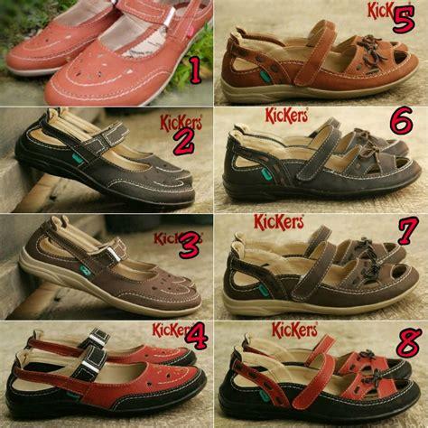 Sandal Kickers Wanita Coklat Combinasi jual sandal sepatu wanita kickers coklat gn