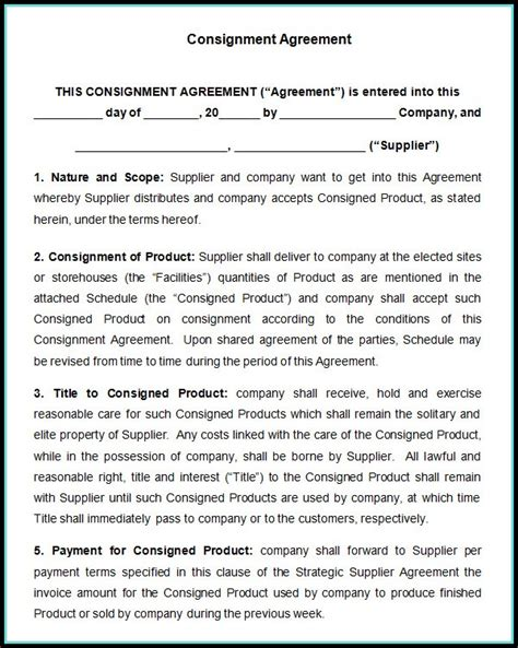 consignment store contract template consignment sales contract template templates 1 resume