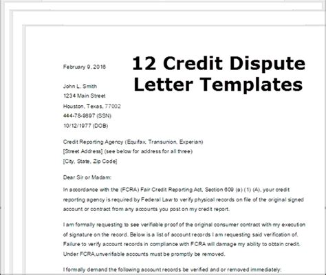 letter of dispute section 609 credit dispute letter template