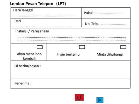 gambar format lembar pesan telepon etika bertelepon
