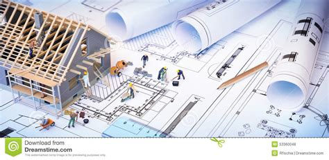 how to build a canstruction project house under construction on blueprints stock photo image
