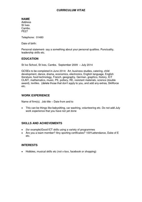 resume work experience format exle personal statements for cv no work experience