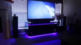 led home lighting home theater system and custom entertainment cabinet with