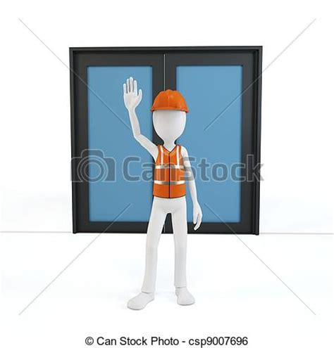 stock illustration of 3d man with safety equipment on stock illustration of 3d man with safety gear stopping at