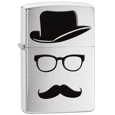 Trucker Hat Zippo Logo 2 In zippo brushed chrome silver moustache and top hat