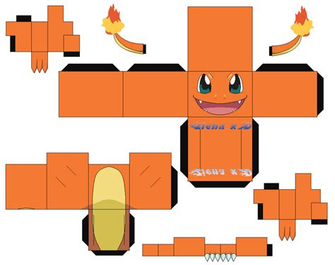 Papercraft Charmander - hitokage charmander v2 anime color by zienaxd on deviantart