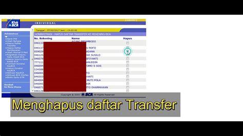 bca youtube cara menghapus daftar transfer bca internet banking youtube