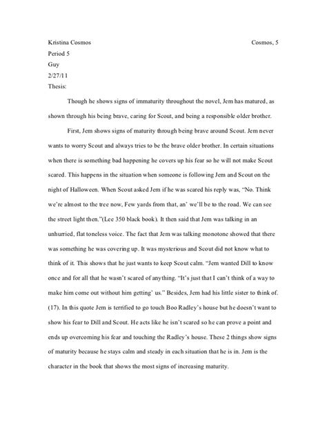 Boo Radley Essay by Tkam Paragrapg Jem Showing Signs Of Maturity