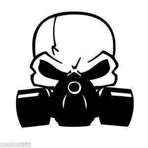 O P List Tengkorak skull with respirator gas mask biohazard vinyl decal