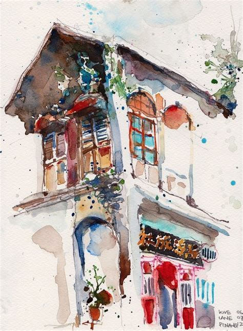 painting workshop buildings pen and ink and watercolor watercolour