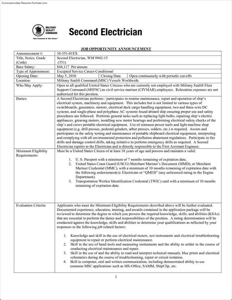 Resume For Electrician by Electrician Resume Templates Free Sles Exles