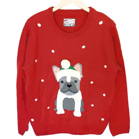 light up christmas sweater french bulldog light up tacky ugly christmas sweater the